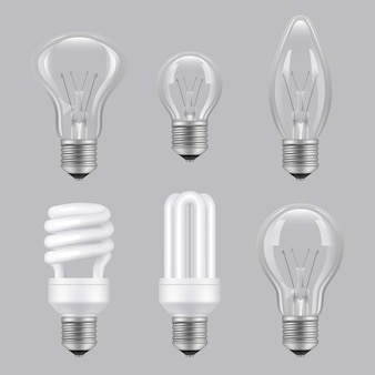 Realistic bulbs. lighting electricity glass transparent lamps collection pictures