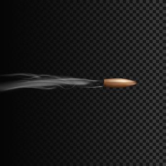 연기 효과와 함께 모션에서 현실적인 총알. 투명 배경에 고립 된 그림