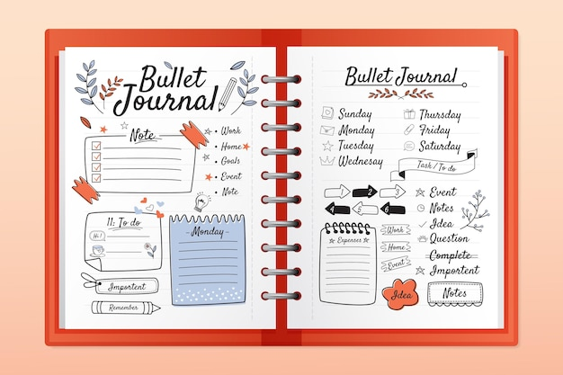 Realistic bullet journal with doodle drawings