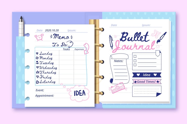 Realisticbullet journal with doodle drawings