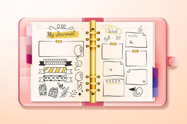 Diario dei proiettili realistico con disegni di doodle