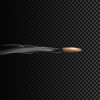 Realistic bullet in motion with smoke effect.  illustration isolated on transparent background