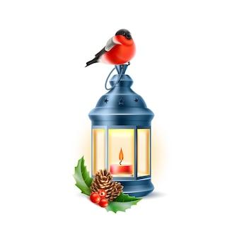Realistic bullfinch bird sitting at vintage kerosine lantern with spruce twigs