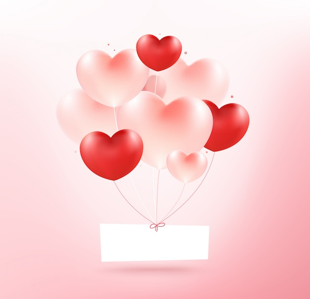 Realistic bunch of flying glossy heart balloons.