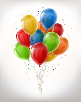 Realistic bunch of flying glossy balloons, multicolored, filled with helium