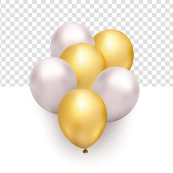 新年のデザイン要素のための飛行光沢のあるホワイトゴールドの風船の現実的な束