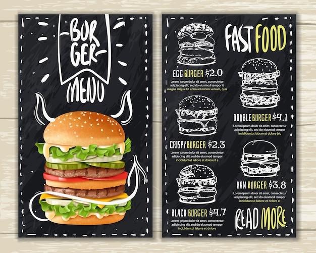 Realistic burger menu. fast food burgers menu on wooden surface