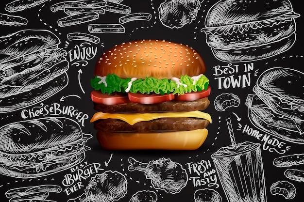 黒板の背景にリアルなハンバーガー