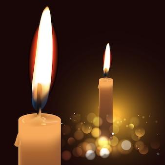 暗い背景に現実的な非常に熱い蝋燭。図