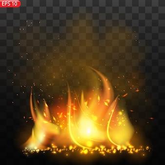 투명도와 현실적인 불타는 불길 효과