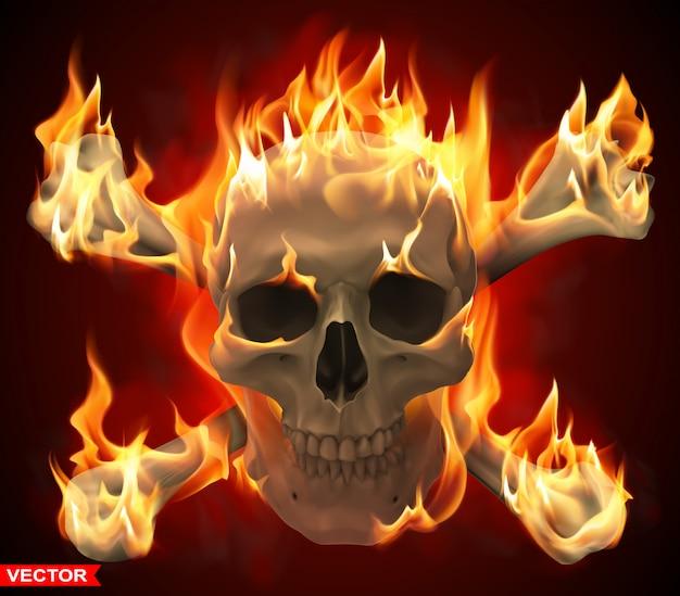 Realistic burning human skull with crossed bones