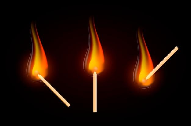 Realistic burning match.