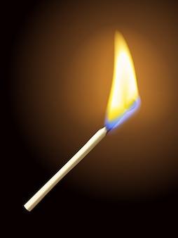 透明度とフレアを備えたリアルな燃えるマッチ棒の炎。