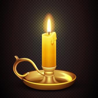 투명 한 격자 무늬 배경 벡터 일러스트 레이 션에 고립 된 현실적인 레코딩 낭만적 인 촛불. 안티