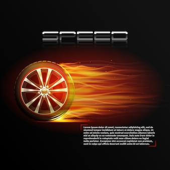 Realistic burning wheel tyre extreme auto sport speed poster
