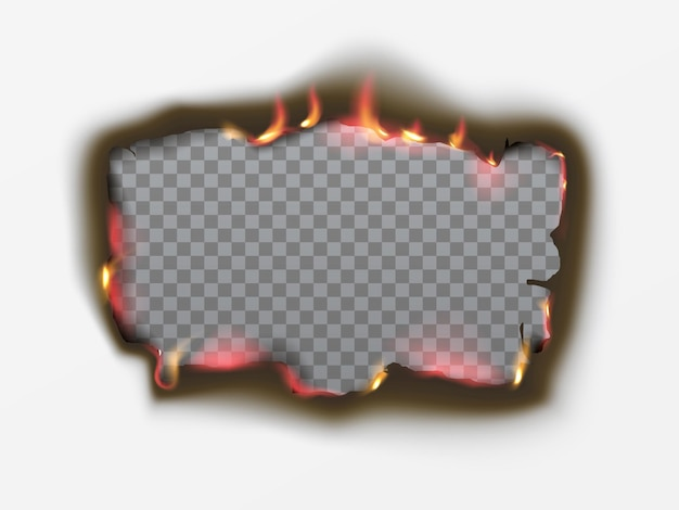 Realistic burnt square hole in paper with fire and black ash. black paper burn in vintage style on transparent background. fire flame frame