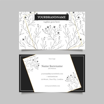 Realistic business card with flowers