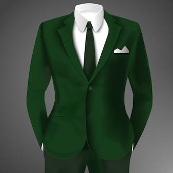 Реалистичный деловой зеленый костюм с галстуком и белой рубашкой