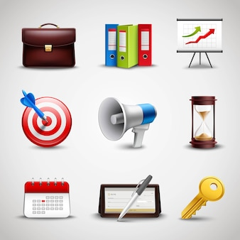Realistic business icons
