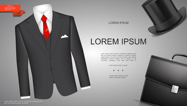 Реалистичный шаблон делового стиля с классическим деловым костюмом, цилиндрической шляпой и портфелем