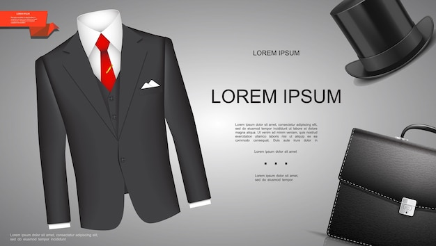 Realistic businessman style template with classic business suit cylinder hat and briefcase