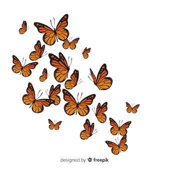 Realistic butterflies group flying