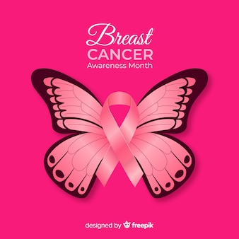 Realistic butterfly breast cancer awareness background