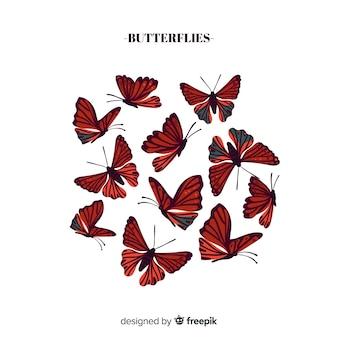 Collezione di farfalle realistiche