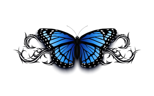Realistic butterfly on top of abstract han drawn tribal ornament. tatto  template  illustration.