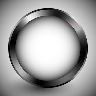 Реалистичная кнопка белый шаблон в металлической оправе светоотражающий стальной инструмент металлическая текстура технический объект