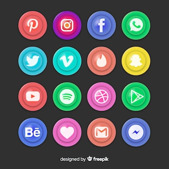 Realistic buttons with social media logo collection