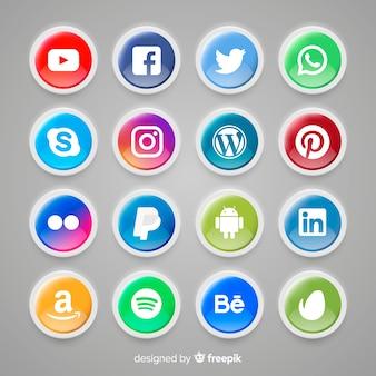 ソーシャルメディアのロゴコレクションと現実的なボタン