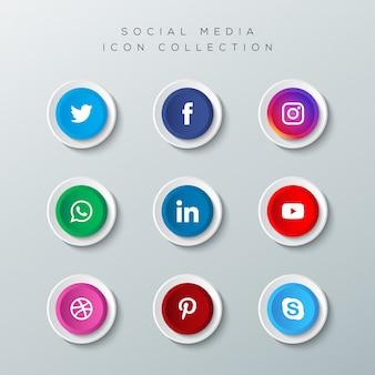 소셜 미디어 로고 컬렉션으로 현실적인 단추