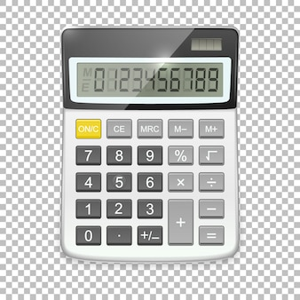 Realistic calculator icon  on transparent background,  template in