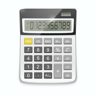 Realistic calculator isolated on white .
