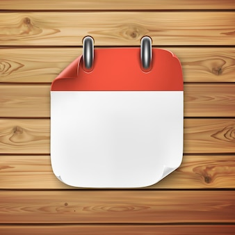 Realistic calendar icon on wooden background. illustration for your projects.
