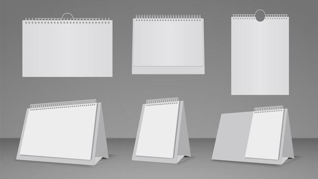 リアルなカレンダーテンプレート。壁とテーブルの白紙カレンダーモックアップベクトルセット。空白のオフィスの空のカレンダー、モックアップページはバインダーイラストを整理します