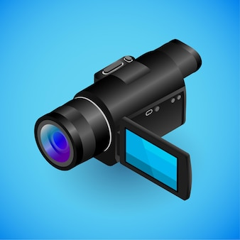 Realistic camerarecorder in isometry vector isometric illustration of electronic device