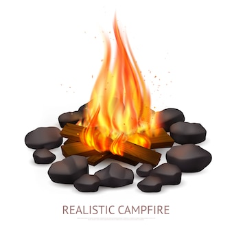 Realistic campfire background composition