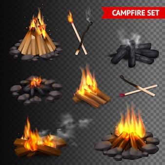 현실적인 캠프 파이어 투명 세트