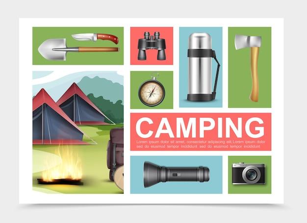 Composizione di elementi di campeggio realistici con pala ascia coltello binocolo bussola thermos torcia fotocamera zaino chitarra vicino a falò e tende