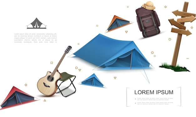 Realistic camping elements template with tents wooden signboard guitar chair backpack pith hat