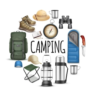 Realistic camping round concept with sleeping bag caps panama hat sneakers binoculars knife compass cup portable chair backpack matches thermos lantern isolated