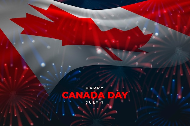 Realistic canada day background with flag