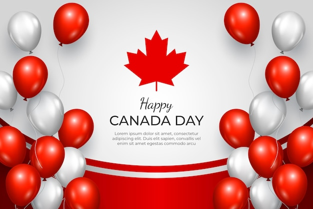 Realistic canada day balloons background