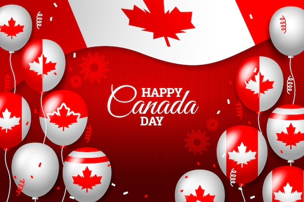 Realistic canada day balloons wallpaper