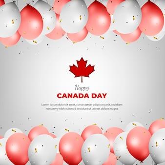 風船と現実的なカナダの日のグリーティングカード