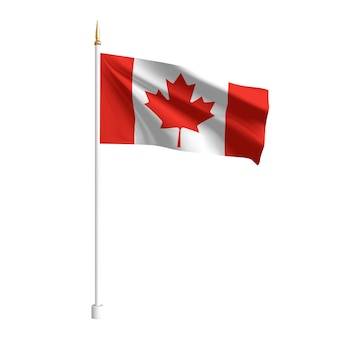 Реалистичный флаг канады. развевающийся флаг