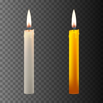 Realistic candle on dark