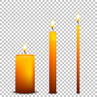Realistic candle icon set  on transparent background.  templates.